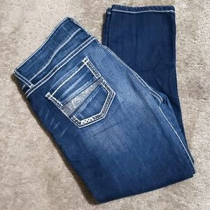 BKE Stella Rhinestones Distressed Straight Leg Jeans Size 32